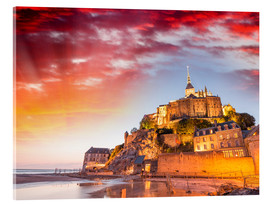 Acrylic print  Stunning sunset over Mont Saint Michel
