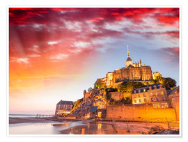 Premium poster  Stunning sunset over Mont Saint Michel