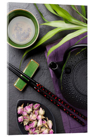 Acrylic print  Asian sushi chopsticks, tea and teapot