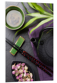 Foam board print  Asian sushi chopsticks, tea and teapot