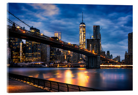 Acrylic glass  New York City - beautiful sunrise over manhattan