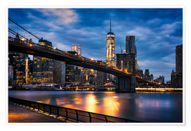 Premium poster  New York City - beautiful sunrise over manhattan