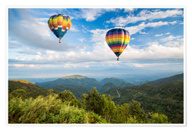 Premium poster Hot air balloon over the mountains