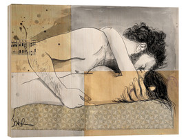 Wood print  lovers on a patterned mattress - Loui Jover