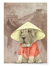 Premium poster Shar pei With The Great Wall