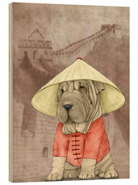 Wood print  Shar pei With The Great Wall - Barruf