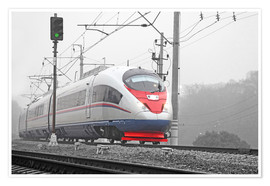 Premium poster High-speed train in the fog