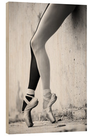 Wood print  Ballet in black and white
