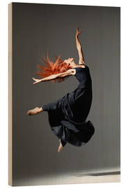 Wood print  Dancer with red hair