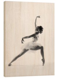 Wood print  Beautiful ballet dancer