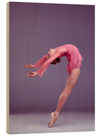 Wood print  Young ballerina in pink dress