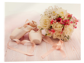 Acrylic glass  Ballet shoes with bouquet