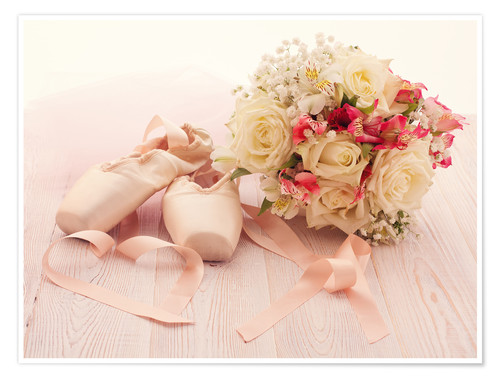 Premium poster Ballet shoes with bouquet