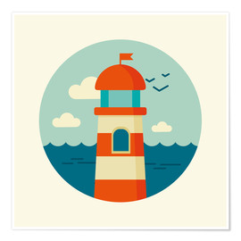 Poster  Lighthouse in a circle - Kidz Collection