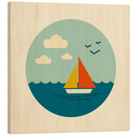 Wood print  Little sailboat - Kidz Collection