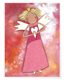 Premium poster Blonde guardian angel for girls