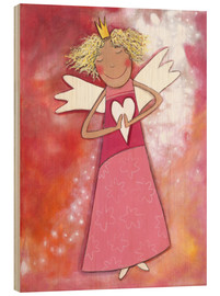 Wood print  Blonde guardian angel for girls - Atelier BuntePunkt