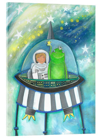 Acrylic print  The little astronaut and his friend in a spaceship - Atelier BuntePunkt