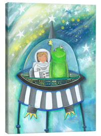 Canvas print  The little astronaut and his friend in a spaceship - Atelier BuntePunkt