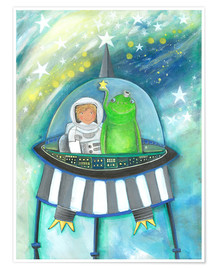 Premium poster  The little astronaut and his friend in a spaceship - Atelier BuntePunkt