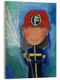 Wood print  My little hero Fireman Julius - Atelier BuntePunkt