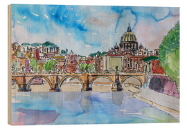 Wood print  Vatican Rome Italy Sunset On River Tiber With St Peter II - M. Bleichner