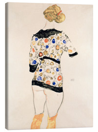 Canvas print  Standing Woman in a Patterned Blouse - Egon Schiele