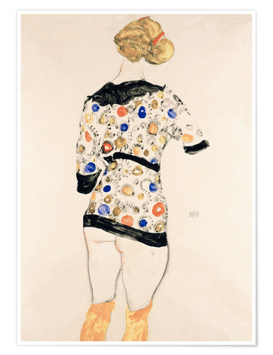 Premium poster Standing Woman in a Patterned Blouse