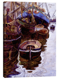 Canvas print  Boats in the port of Trieste - Egon Schiele