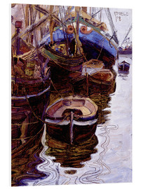 Foam board print  Boats in the port of Trieste - Egon Schiele
