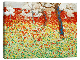 Canvas  Flower meadow with trees - Egon Schiele