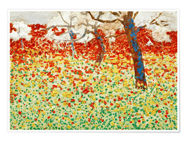 Poster Flower meadow with trees