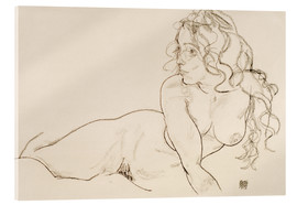 Acrylic glass  Supporting herself, Female with long hair - Egon Schiele