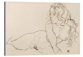 Alu-Dibond  Resting himself Female act with long hair - Egon Schiele