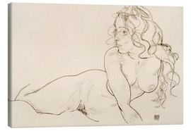 Canvas  Supporting herself, Female with long hair - Egon Schiele