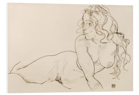 Foam board print  Supporting herself, female with long hair - Egon Schiele
