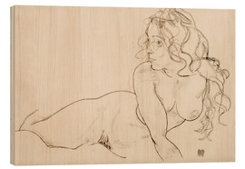 Wood  Resting himself Female act with long hair - Egon Schiele