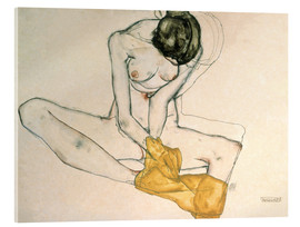 Acrylic print  Seated with yellow cloth - Egon Schiele