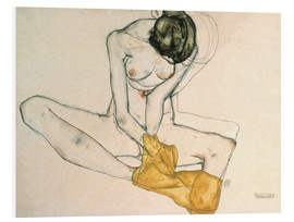 Foam board print  Seated with yellow cloth - Egon Schiele