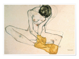 Premium poster  Seated with yellow cloth - Egon Schiele