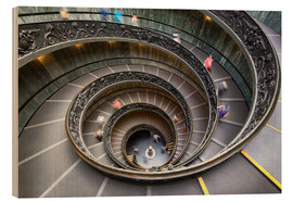 Wood print  Staircase in the Vatican Museum in Rome - Jan Christopher Becke
