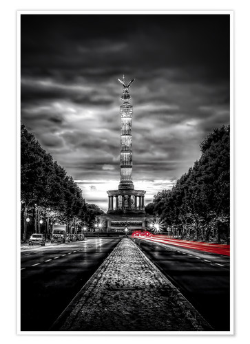 Premium poster Victory Column Berlin in the evening