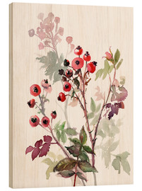 Wood print  Rosehips - Verbrugge Watercolor