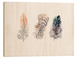 Wood  3 feathers - Verbrugge Watercolor