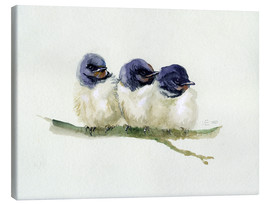 Canvas  3 little swallows - Verbrugge Watercolor
