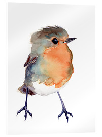 Acrylic glass  Baby Robin Watercolour - Verbrugge Watercolor