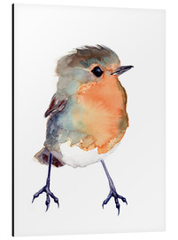 Alu-Dibond  Baby Robin Watercolour - Verbrugge Watercolor