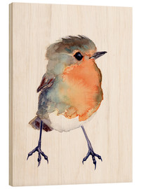 Wood  Baby robin in watercolour - Verbrugge Watercolor