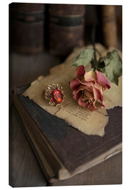 Canvas  Old books, ring, letters and dry rose - Jaroslaw Blaminsky