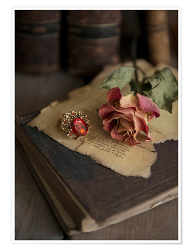 Premium poster Old books, ring, letters and dry rose